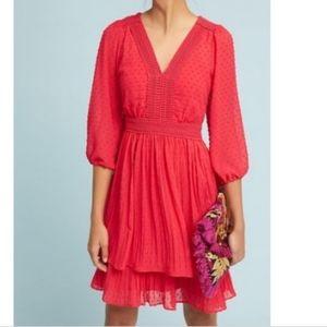 MEADOW RUE Minetta tiered swiss dot dress